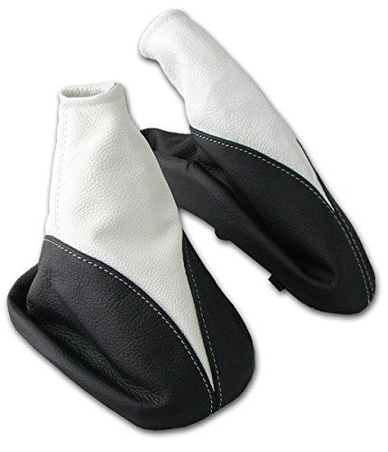 L&P A106-3 Kit Soufflet Sac Manchette manchon de commutation 100% cuir véritable veritable blanc noir noire couture fil blanc et frein à a main stationnement parking transmission manuelle boîte boite vitesse vitesses changement vitesse noir, blanc