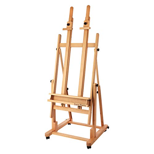 "Creative Mark Saint Remy Wooden H-Frame Artist Studio Floor Easel Double Mast Adjustable Multi Angles to Flat for Small to Extra Large Canvas Paintings up to 60""w x 82"" h - Oiled Beechwood"
