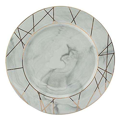 Geschirrteller Einfache Auswahl Teller Teller Marmor Textur Gold Linie Umriss Gesundes Porzellan Rund 8/10 Zoll @ 8-Zoll-Linie-grau Keramik Geschirr