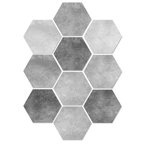 VORCOOL Pegatina para el Piso, 10 Piezas de Cemento Pegatina para el Piso, en Blanco y Negro, Hexagonal, Antideslizante, Adhesivo para Azulejos, Pegatina para el baño