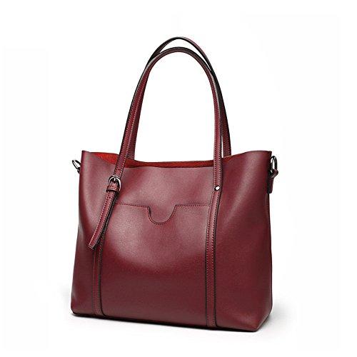 Big - Bag - Weibliche Leder Mode Alle Match, Weiches Leder Leder Umhängetasche,Bordeaux - Wein