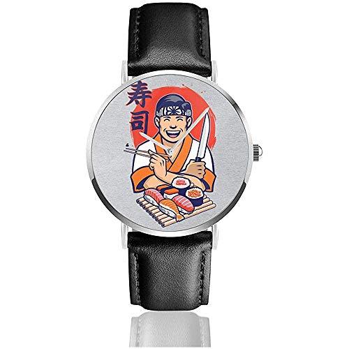 Unisex Business Casual Karate Kid Daniel San Sushi Uhren Quarz Leder Uhr