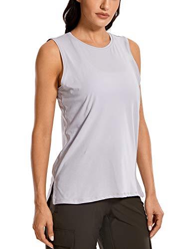 CRZ YOGA Women's Pima Cotton Workout Tank Tops Loose Fit Yoga Sleeveless Shirts Muscle Tank Iced Iris S