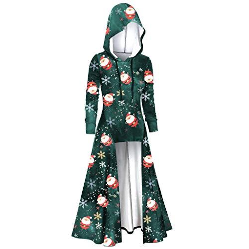 Women Christmas Print Hooded Plus Size Vintage Cloak High Low Dress Blouse Tops
