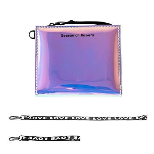 Weibliche Laser-Mini-Portemonnaie Holographic Wallet Short Kunstleder weibliche Reißverschluss Geldbörsen Organizer Wallets