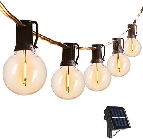 VIFLYKOO Solar Lichterkette Außen,LED Solar Lichterkette mit 25 Birnen 7.6M IP44 Wasserdicht Beleuchtung für Garten,Terrasse,Bäume,Hof, Haus Party Deko - Warmes Weiß