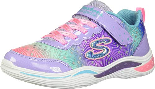 Skechers Kids Girls' Power Petals-Painted Daisy Sneaker, Lavendar/Multi, 1 Medium US Little Kid