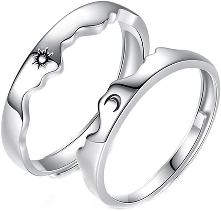 Matching Rings for Couples Promise Statement Rings for Her and Him Set Sun Moon Couple Rings Best Friend Rings for 2