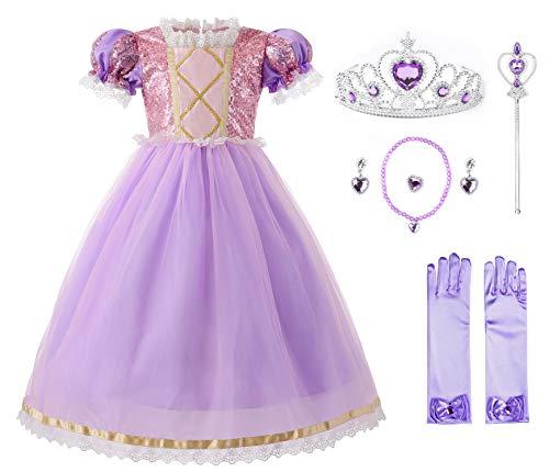 JerrisApparel Princesa Nia Vestido Lentejuela Fiesta Navidad Cosplay Disfraz (4 aos, Lila con Accesorios)