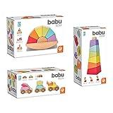 MindWare Babu Collection Wooden Toddler Stacking Toys Set of 3