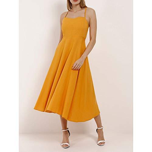 Vestido Linho Midi Feminino Autentique Amarelo M
