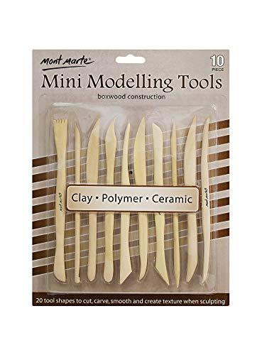 MONT MARTE Attrezzi Argilla in legno - 10 utensili scultura bifacciali di forme diverse - Ideali per la lavorazione di argilla, polimero e ceramica - Perfetti per Principianti, Professionisti, Artisti