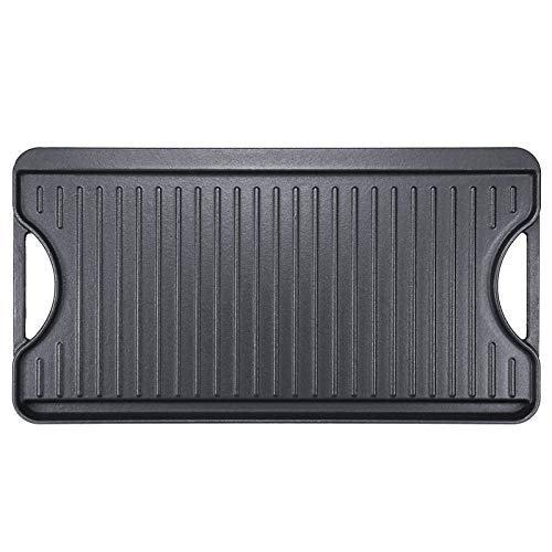 Hisencn Pre-Seasoned Cast Iron Reversible Grill, Griddle Pan With Handles, 20 Inch x 10.5 Inch, One black tray Grill Pan For Stovetop with Easy Grip Handles, Use On Open Fire & In Oven