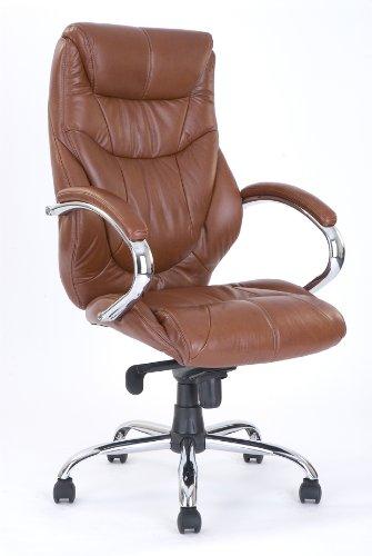 Eliza Tinsley 617KTAG/TN Lussuosa poltrona in pelle da ufficio, con schienale alto e pedana cromata, Marrone (braun)