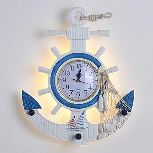 De enige goede kwaliteit Decoratie Blauwe Roer Kinderkamer Wandlamp Slaapkamer Cartoon Decoratieve Nachtlampje Kleuterschool Kamer Warm Amerikaanse Klok Wandlamp 36 * 8 * 43 (cm)