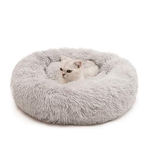 Cama para gatos y perros de peluche suave donut cama de 60 cm de diámetro redonda para dormir para gatos pequeños perros y mascotas (gris claro)
