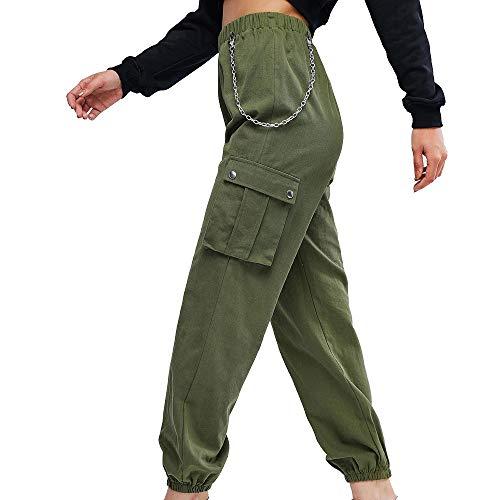 ZAFUL - Pantalones de Deporte para Mujer, Estilo Hiphop, Cintura Alta, sólidos, con Bolsillo
