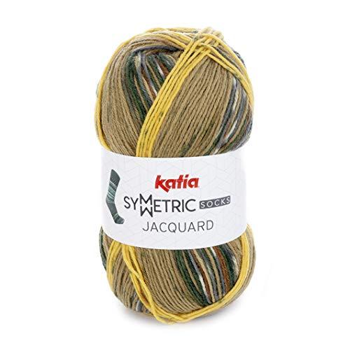 Katia Neuheit Herbst/Winter 2018!!! 150g Symetric Jacquard - Farbe 99 - Zwei identische Socken Stricken durch den gelben Faden