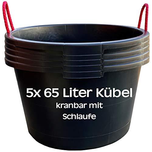 5 Stk. 65 Liter Mörtelkübel, Baueimer, Eimer, Zementeimer, Tuppe kranbar in schwarz mit extrem stabilen Traglaschen