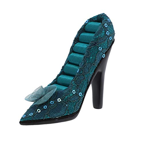 SandT Collection Small Sequin with Flower Shoe Ring Holder Jewelry Display - Turquoise