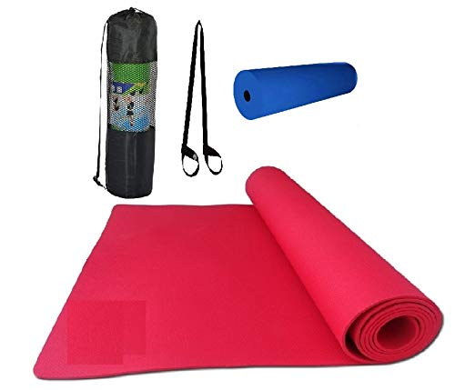 (4 in 1) (Yoga Mat + 1 pc Yoga Roller + Carry Bag + Yoga Mat Carry Strap Yoga MAT and Related Products Non Slip Yoga Mat Very Surface Sticky (Red) (6MM)