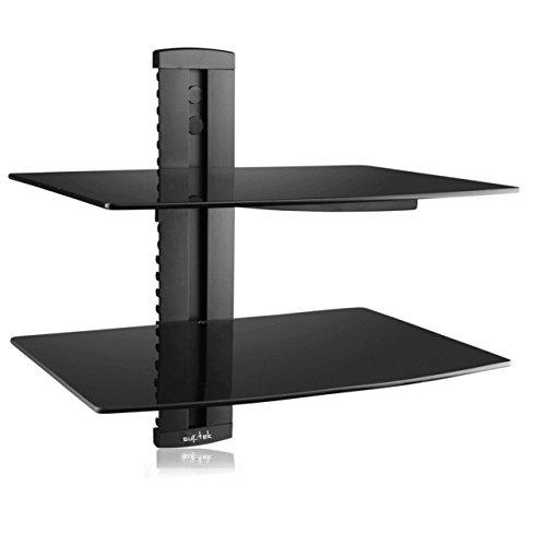 Suptek zwart 2 drijvende plank met versterkte gehard glas voor dvd-spelers/kabel dozen/spelletjes consoles/TV accessoires 2 plank zwart CS202