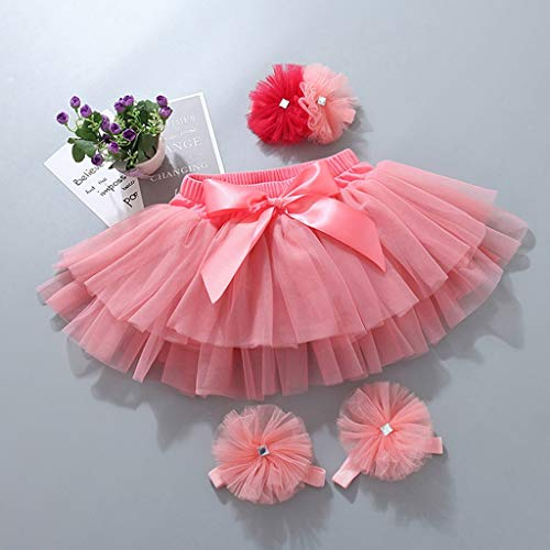 Onemopie Skirts for Toddler,Child Baby Girl's Tulle Tutus with Mesh Bowknot Hair Band Foot Strap Princess Skirt for 0-3 Years Old,Birthday Party Dance Skirts