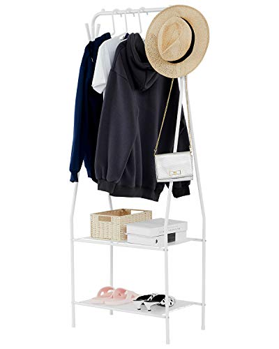 YOUDENOVA Clothing Rack with 2 Tier Metal Shelf Small Clothes Rack with 4 Hooks White