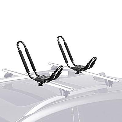 FIVKLEMNZ J-Bar Kayak Roof Rack, Universal Rooftop Rack Carrier for Kayak Canoe Paddle Boat Surf Ski, Mounted on Car SUV (One Pair)