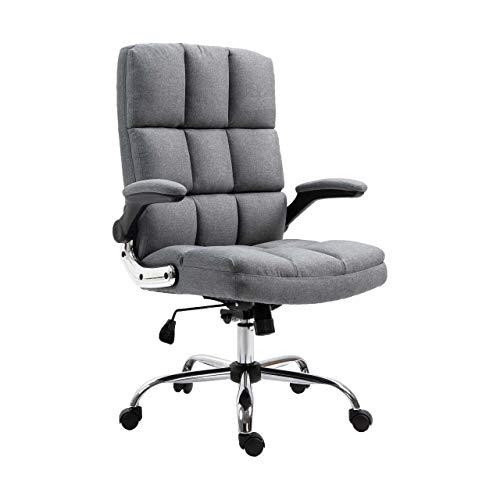 Mendler Bürostuhl HWC-J21, Chefsessel Drehstuhl Schreibtischstuhl, höhenverstellbar - Stoff/Textil grau