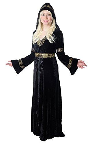 dressmeup - K50/46 Disfraz Mujer Vestido Largo Noble Hada Cuentos Medieval Negro Cosplay K50 Talla: 46/ XL