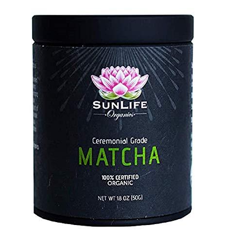 Sunlife Organics Matcha Tin - 100% Certified Organic Matcha Powder | Authentic Ceremonial Grade Japanese Green Tea (50g/1.8oz)