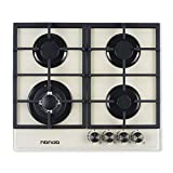 Gas Cooktop 24' inches Gas Stove Tempered Glass Built in 4 Burners Gas Stoves Cooktop Stove Burner Cast Iron Grate Stove-Top LPG/NG Dual Fuel Thermocouple Protection and Easy to Clean-Creamy White