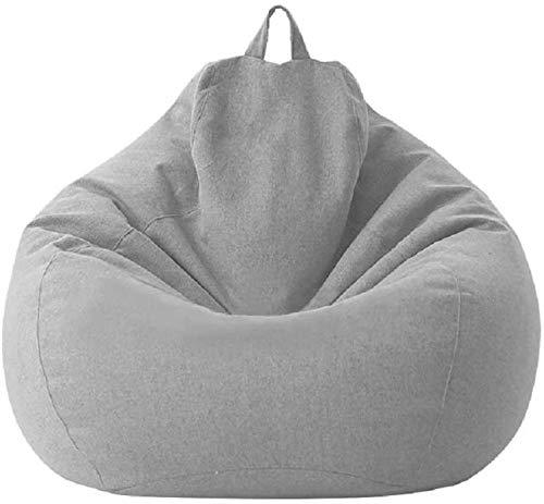 MeButy Puf grande para exterior, para sofá, sin relleno, con respaldo alto, para adultos y niños, color gris claro