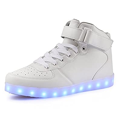 VOEN High Top Light up Shoes USB Charging 11 Colors Flashing LED Shoes Sneakers for Men Women Teens (14 B(M) US Women/10.5 D(M) US Men, White)