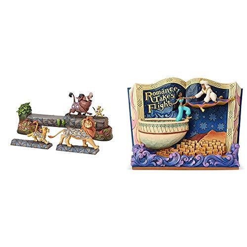 Disney Traditions Carefree Camaraderie Simba, Timon and Pumbaa Figurine & Disney Traditions Romance Takes Flight Aladdin Storybook Figurine