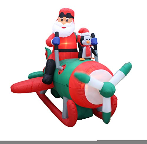 BZB Goods Animated 8 Foot Long Christmas Inflatable Santa Claus with Penguins on Airplane Decor Outdoor Indoor Holiday Decorations, Blow Up Lighted Yard Decor, Giant Lawn Inflatable for Home
