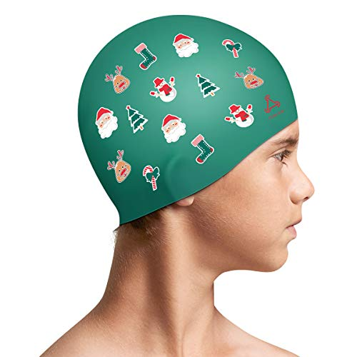 Funown Christmas Kids Swim Caps for Kids, Children, Boys and Girls Aged 2-8, Baby Waterproof Bathing Caps for Long and Short Hair, Best Christmas for Kids