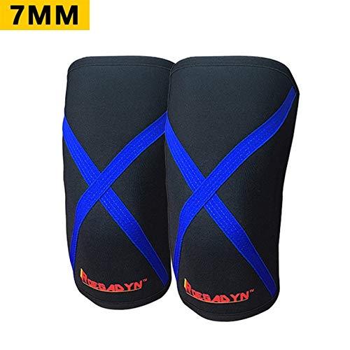 Factory Promotion Gym 7mm weiche Neopren-Kompressions-Gewichtheber-Kniebandage für Männer und Frauen, passend - 003 blau (7mm), M.