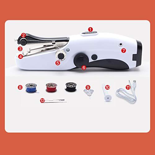 JIAAN Máquina de Coser Sewing Machine Mini Maquina de Coser Portatil,Portátil Herramienta de Puntada Rápida para Tela Ropa en Viaje Casa,Tijera,Aguja,Enhebrador,Sujusto Máquina de Coser Eléctrica