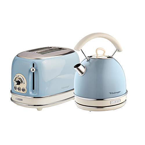 Ariete ARPK12 Retro Style Dome Kettle and 2 Slice Toaster Set, Vintage Design, Blue
