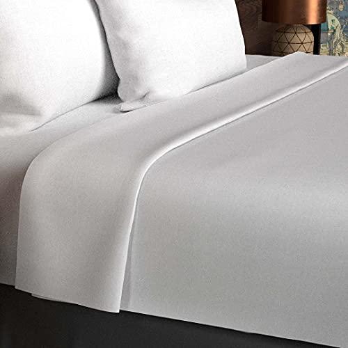 Soleil d'Ocre - 216800 - Drap Plat Coton 57 Fils Uni - 260 x 300 cm - Blanc