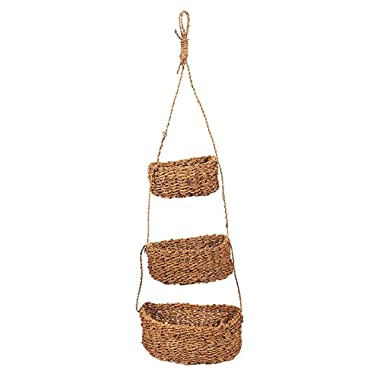 Juvale Set of 3 Hanging Pot Holders - Decorative Seagrass Hanging Baskets, Wall Hanging Baskets for Outdoor, Indoor Plant Display, Brown - Hanging Size 24.5 Inches