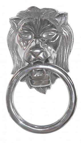 Casa Padrino Designer Löwenkopf Lion Handtuchhalter aus Aluminium vernickelt Höhe: 31 cm, Breite: 17,5 cm, Tiefe: 10 cm - Wandfigur - Handtuchring - WC Bad Dekoration