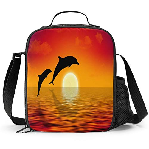 Delerain Dolphins Lunch Box, Insulated Lunch Bag with Handle and Shoulder Strap Cooler Picnic Pouch Food Bag for Kids Girls Boys Preschool Office Picnic