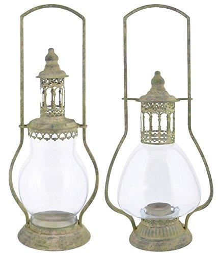 Esschert Design Aged Metal Lanterne en métal délavé et verre Vert 18,3 x 14,7 x 46,0 cm