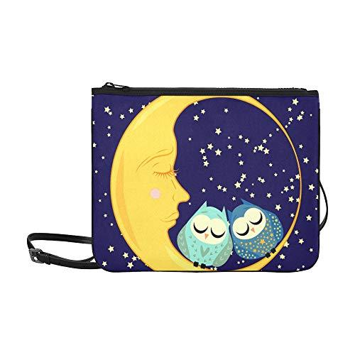 Crossbody Bag Cute Cartoon Sleeping Owl Circles Closed High-grade Nylon Adjustable Shoulder Strap Best Handbags For Shopping Travel Hiking Work