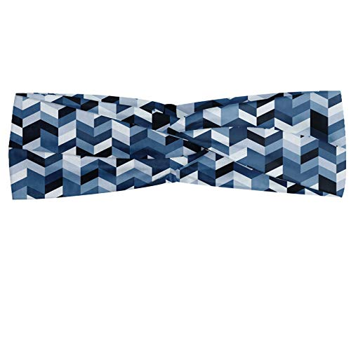 ABAKUHAUS Diadame azul de la pizarra, Banda Elástica y Suave para Mujer para Deportes y Uso Diario Patrón suaves tonos pastel moderno espiga con zigzag Chueco imagen Rayas, Oscuro y azul de la pizarra