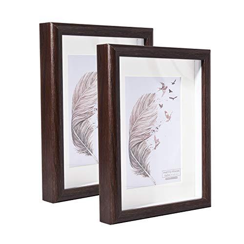Metrekey 15,2 x 20,3 cm großer 3D-Bilderrahmen mit Halterung für 10,2 x 15,2 cm große Fotos, brauner Rahmen aus Holz mit Glasfront, freistehend und Wandmontage