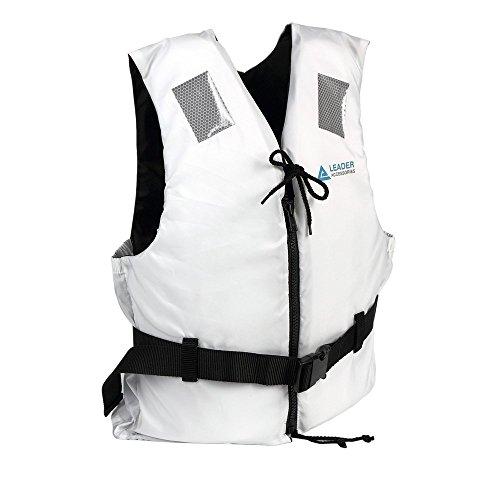 Leader International Schwimmhilfe Erwachsene ISO 12402 CE-Kennzeichnung, Festtoffweste ideal für den Wassersport, Auftriebshilfe bis zu 50N(Weiß XL: 90kg+)